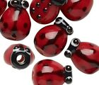 10 Red  Black Glass LADYBUG Beads 12x9mm