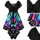 Plus Size Womens Butterfly Design Short Sleeve Party Cocktail Casual Dress