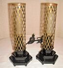 VINTAGE ART DECO MCM BLACK GLASS BRASS CAGE SHADES BULLET LAMPS VGC