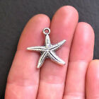 6 Starfish Charms Antique Silver Tone Two Sided SC441