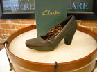 Clarks Ruby Spade Gray Suede  Patent Pump 10 NEW