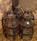 VIntage 2 1 4 Tall Glass  Hammered Copper Accent Apothecary Medical Jar Bottle