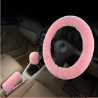 3 Pcs Steering Wheel Cover For Women Sets Wool Plush Hand Brakestop Lever Cool