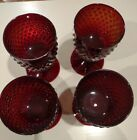 4 RUBY RED GLASS HOBNAIL WINE or WATER GOBLETS