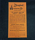 Disneyland 50 Cent Parking Ticket Vintage Circa 1960s