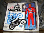 VTG EVEL KNIEVEL STUNT CYCLE FIGURE MINT ON SEALED CARD RED WHITE BLUE HELMET