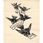 Mail Carrier Birds Beeswax Rubber Stamp Mounted Animals Postal Letters