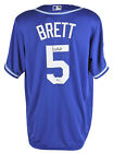 Royals George Brett Signed Blue Majestic Jersey w 2015 WS Champions Patch BAS