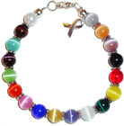 Cancer Awareness Bracelet 8mm wire Multi Colored 7 3 4 inches packaged