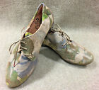 Think Womens Sz 37 US 7 All Leather Blue Green White Floral Oxford Flat Shoes