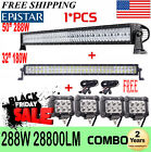 52 Curved LED Light Bar  32inch + 4 CREE Pods Offroad SUV ATV Ford Jeep 54