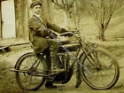 1916 Indian Motorcycle Solo Rider RARE Action Photo Reprint Pic Image M15