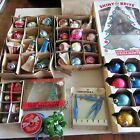 52 Vtg Glass Christmas Ornaments LOT SHINY BRITE WOOLWORTHS MERCURY GLITTER DECO