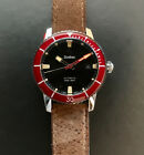 Zodiac Super Sea Wolf 53 Compression Automatic Swiss Watch Black Dial Red Bezel