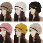 Winter Cable Knitted Woolly Crochet Warm Baggy Cap Hat For Girls Women Ladies