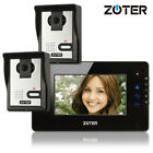 ZOTER 7 Black LCD Touch Key Wired Video Door Bell Phone Home Intercom 2x Camera