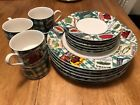 Omnibus Habitat Americana Country cupboard Dinner set, with cups