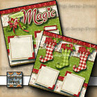 HOLIDAY MAGIC 2 premade scrapbook pages paper piecing CHRISTMAS DIGISCRAP A0157