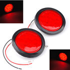 "Pari of Red 12 LED 4"" Round Stop Turn Tail Light For Truck Trailer"
