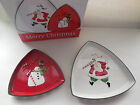 Set of 2 Fitz & Floyd Essentials Merry Christmas Triangular Plates Santa Snowman