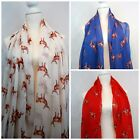 Stag Scarf Ladies Cream Red Blue Brown Highland Stags Shawl Womens Wrap