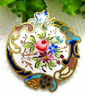 ANTIQUE FRENCH ROCOCO CHAMPLEVE ENAMEL BUTTON W/ BOUQUET OF FLOWERS S47