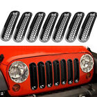 7pcs Grilles Insert Angry Bird Headlight Bezels For 07 16 Jeep Wrangler Durable