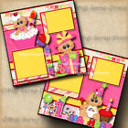 1ST BIRTHDAY GIRL baby 2 premade scrapbook pages paper piecing DIGISCRAP A0032