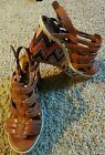 Reba Womens Wedge Sandal 4 Chevron Heel Size 8M Worn Twice EUC Very Chic