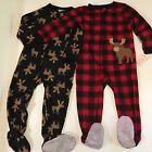Set of 2 Carters JUST ONE YOU Boys Footed Pajamas 3T Moose NEW Free Ship