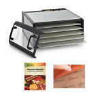 Excalibur Dehydrator Clear Door with 5-Tray Large Stainless Steel Tray D500CDSHD