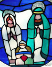 Nativity Christmas Stained Glass Plate Mary Baby Jesus Christ Joseph