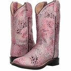 Old West Childrens Girls Sparkle Square Toe Cowboy Boots Pink