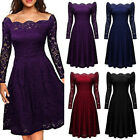 Women Vintage Lace Boat Neck Formal Wedding Cocktail Evening Party Swing Dress
