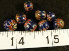 (8) Fur Trade Era Indian 6 Layer Chevron Glass Trade Beads Blue Very Old