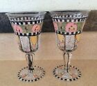 ME INK MARY ENGELBREIT Stemmed Goblets Handpainted Floral Wine Glasses RARE