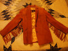Vgt Womens Leather Suede Fringe Jacket size 7 8 Small Made in USA