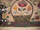Primitive hand hooked wool cat rug
