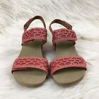 Clarks Bendables Alto Anthem Wedge Summer Sandals Shoes Size 5 Pink Leather