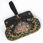 Vintage Embroidered Tapestry Purse Small Victorian Wristlet Black Floral Clasp