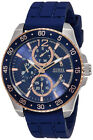 GUESS- JET Men's Chronograph 100m Stainless Steel Blue Silicone Watch W0798G2