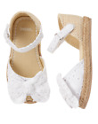 GYMBOREE TODDLER GIRL WHITE ESPADRILLES BOW SANDAL SHOE 7 8 NWT 37