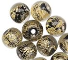 10 Lampwork Glass Black with Gold Foil in Clear 8mm Round Beads w 15 2mm Hole