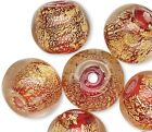 10 Lampwork Glass 8mm Red with Gold Foil in Clear Round Beads with 15 2mm Hole