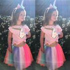 US Kids Baby Girl Unicorn Top T shirt Lace Tutu Skirt Outfits Set Clothes Summer