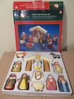 MINI KURT ADLER CHILDS FIRST NATIVITY SET 12 WOODEN HAND CARVED PAINTED FIGURES
