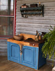 1870 Primitve Dry Sink Old Style Blue Paint Square Nails Drawer Two Doors