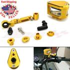 Gold CNC Brake Tank Oil Fluid Reservoir Cup With Bracket Universal Motorcycle US