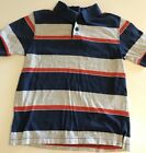 The Childrens Place Boys 5 6 Blue Striped Cotton Polo Shirt Short Sleeve
