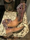 John Deere Western BOOTS youth Leather Cowboy Tan Camo Pink Girl